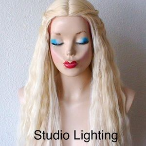 """Long Wavy Blonde Wig 28"""" Center Middle Part"""